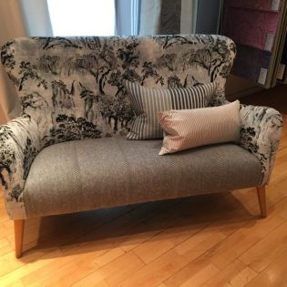 Accent chair floral wool upholstery