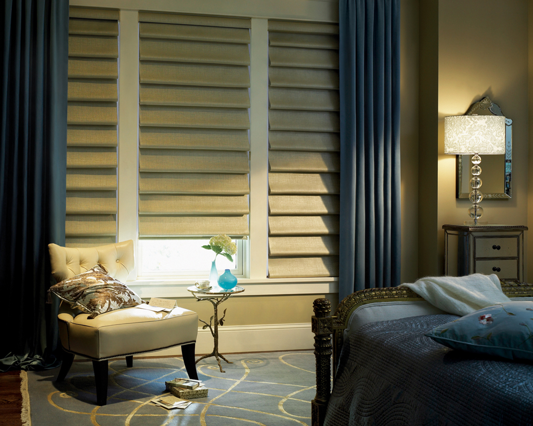 Vignette modern roman shades in bedroom